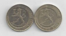 2 DIFFERENT 1 MARKKA COINS from FINLAND DATING 1993 & 1994