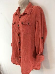Catch StreetWear Istanbul Turkey Womens L Orange Cotton Gauze Roll Sleeve Shirt