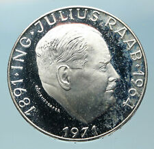 1971 AUSTRIA with Politician Julius Raab Proof Silver 50 Schilling Coin i83809