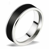 Fashion Silver Black Titanium Band Ring Women Men's Stainless Steel Ring Jewelry