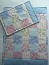 Doll's Quilt & Pillow set Pink/blue patch Pram Cot Handmade Blanket Girl Quilted