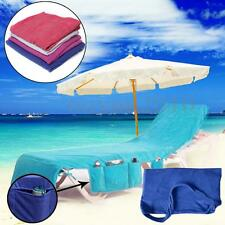 1X Sun Lounger Mate Beach Towel Carry With Pockets Bag For Holiday Garden Lounge