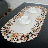 Beige Retro Embroidered Floral Tablecloth Table Cloth Doily Cover Placemat Pad