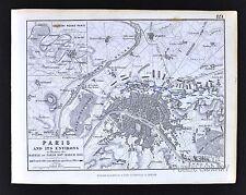 1850 Johnston Military Map - Napoleon Battle of Paris 1814 - France Seine River