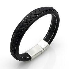 Leder Edelstahl Magnet Armband Damen Herren Lederarmband schwarz silber A034