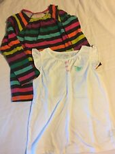 Two Carter's Shirts/Tops Long Sleeve Short Sleeve White Stripes Set