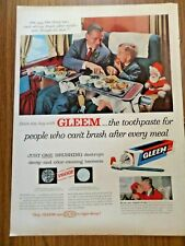 1957 Gleem Toothpaste Ad  Father Son Travelling Airplane 1957 Carling Beer Ad