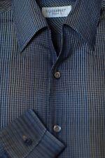 Equilibrio Men's Black Gray & Gold Check Cotton Casual Shirt M Medium