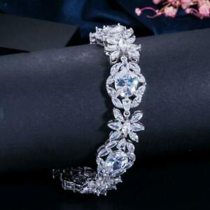 Crystal Clear Oval & Marquise Cut 47.65CT Cubic Zirconia Floral Charm Bracelet