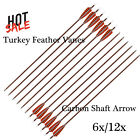 """30"""" Feather Carbon Shaft Arrows  Hunting for Compound & Recurve Bow 6/12PCS"""