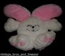"14"" VINTAGE HAAN CRAFTS WHITE & PINK BUNNY RABBIT STUFFED ANIMAL PLUSH TOY OLD"