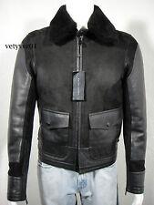 RALPH LAUREN Black Label Military/Flight Bomber Shearling Jacket Black size XS
