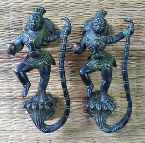 Lord Krishna on Snake Figure Door Handle Brass Spiritual Design door handle