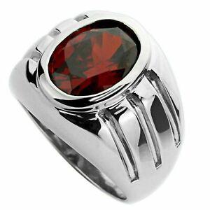 925 Silver Garnet Band 8x10 mm Oval garnet silver Mens Ring garnet Heavy band