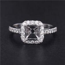 Princess Cut 5×5mm Natural Diamond Semi Mount Ring Setting 14K White Gold