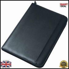 Black A4 Ring Binder Portfolio Document Paper Organiser Folder Leather Zip Study