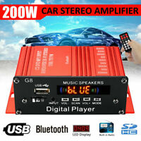 200W 12V Car HIFI Audio Stereo Power Amplifier bluetooth FM Radio USB TF AUX 2CH