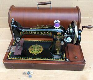 Hand crank Antique Singer 66, 66k Lotus decals Sewing machine