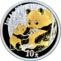 1 OZ Silber 10 Yuan China Panda 2005 mit Goldapplikation gilded
