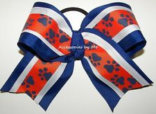 Bulldogs Cheer Bow Bull Dogs Dawgs Orange Blue Paw Gators Cheerleader Softball