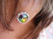 Vitrail Medium Rhinestone Rivoli Earrings 12mm Austrian Crystal USA Made