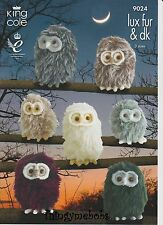 KING COLE 9024 BABY OWLS ORIGINAL KNITTING PATTERN - LUXE FUR - 3 SIZES