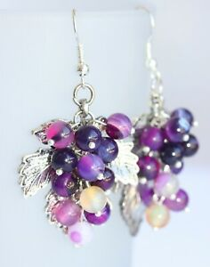 Hand Crafted Grape Earrings - Purple Agate Stones 925 Sterling Silver Hooks