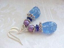 Vintage German Glass Bead Earrings Sapphire Blue Purple Bad Secretary Gift Women