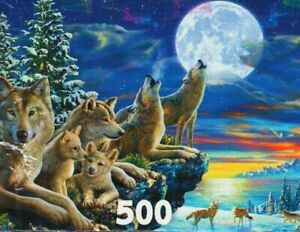 """Glow In The Dark """"HOWLING WOLVES"""" Full Moon 500 Pieces BOXLESS Jigsaw Puzzle NEW"""