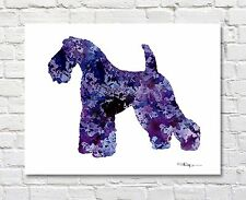Kerry Blue Terrier Abstract Watercolor Painting Art Print by Artist DJ Rogers