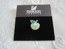 Final Clearance Genuine Swarovski Swan Signed Green Pave`Crystals Apple Tac Pin