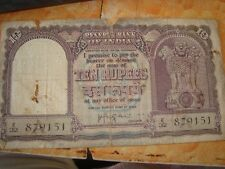 Old vintage Real Currency Ten Rupees Note from India 1960