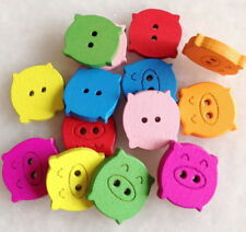100pcs Mixed Colors Cute Pig Wooden Buttons 2 Holes Fit Sewing Scrapbook Hnk200