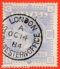 "SG. 182. K14 (1). "" LG "". 10/- Cobalt. A very fine "" 14th October 1884 LO B41659"