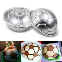 2pcs Aluminum Soccer Ball Cake Pan Tin 3D Football Pastry Baking Mould Tools NEW