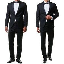 Herren Smoking Anzug Sakko Jacket Hose Schwarz Slim Fit Hochzeit Dinner Gr.44-60