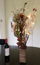 Xmas Copper Cream Artificial flowers Wood vase & LED lights conservatory, lounge