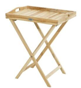 Ploß Teak Tablett-Tisch, Beistelltisch Eco 60x45 cm Teaktablett Teaktisch Tisch