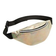 BW#A Fanny Pack Laser Waist Packs Women PVC Sports Casual Crossbody Bags (Gold