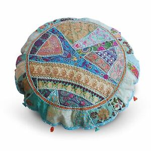 Indian Round Patchwork Embroidered Ottoman Cover