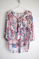 Xhilaration Size L Ivory Pink Blue Floral 3/4 Sleeve Tie Neck Top Shirt