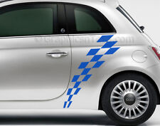 Fiat 500 Car Sticker Checker Flag Chequered Custom Side Stripe Graphic Decal