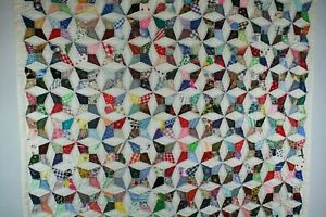 """Handmade hand stitched vintage abstract pattern Quilt Throw 42"""" x 62"""""""
