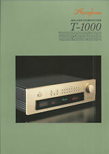 Accuphase t-1000 Catalogo Prospetto Catalogue datasheet brochure