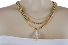 Fun Women Gold Religious Necklace Metal Chain Link Weekend Fashion Jewelry Cross