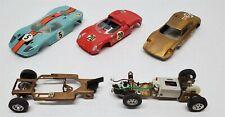 VINTAGE 1960'S COX SLOT CAR 1/32 & 1/24 SCALE MODELS GOLD RED LIGHT BLUE