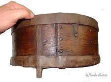 flandre - rare boisseau - mesure à grains en bois et fer forgé 18ème