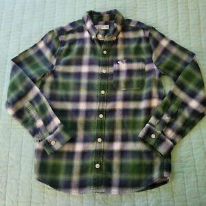 Boys Abercrombie Flannel Shirt 11 12 Green Blue Long Sleeve Fall Soft Long...