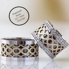 Paar 925 Silber Trauringe Partnerringe Eheringe Hochzeitsringe 10mm Designring