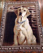 Love Yellow Labrador Retriever Lab dog Cotton Jacquard Woven Throw Blanket NEW